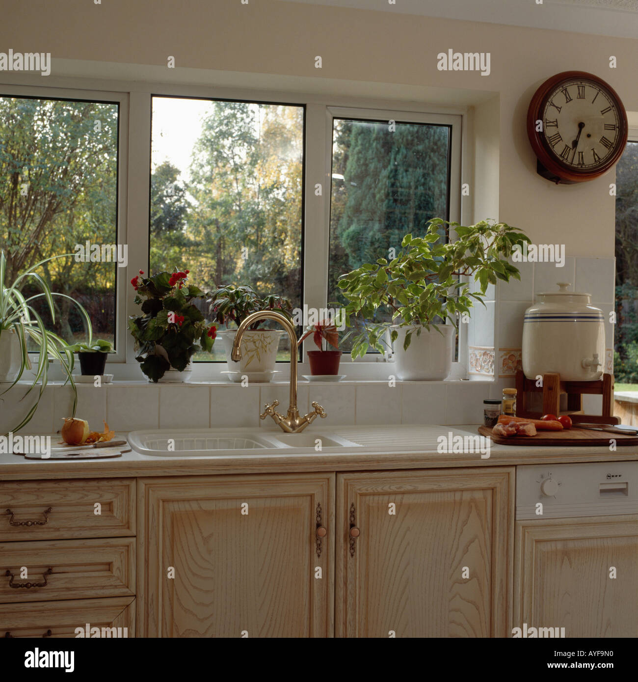 https www alamy com sink in front of kitchen window with view of garden image9766415 html