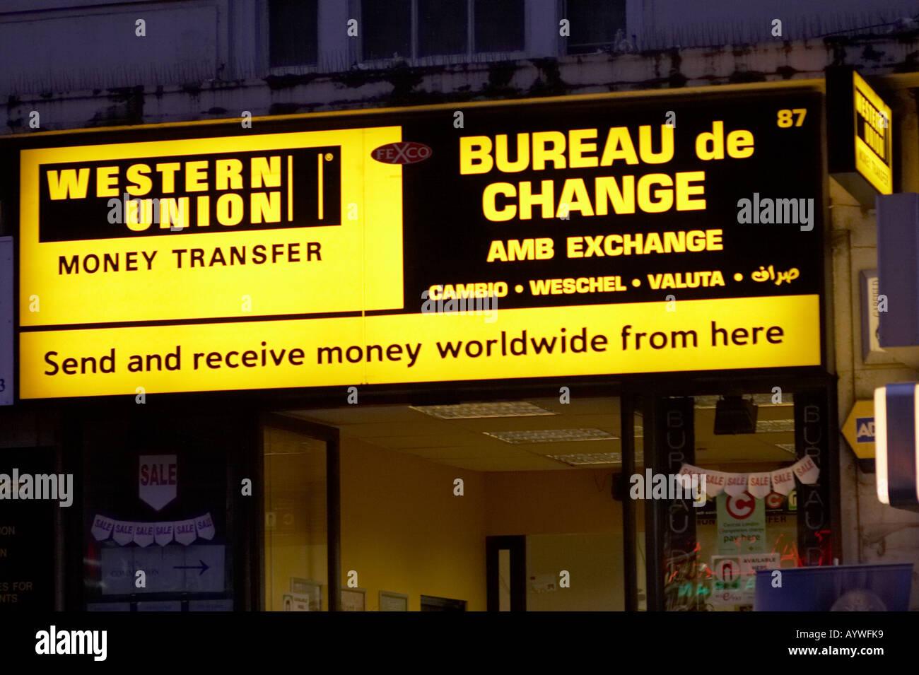 western union money transfer bureau de change in london uk