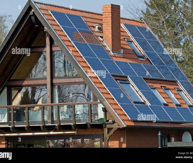 Solar Panels On A Residential Property In Hude Am Dummer Lower Saxony Germany