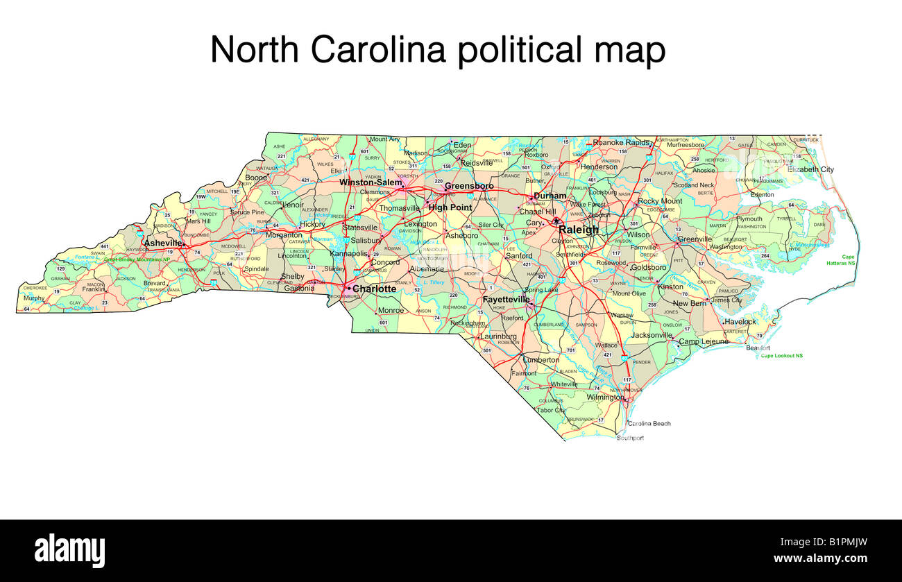 North Carolina State Political Map Stock Photo