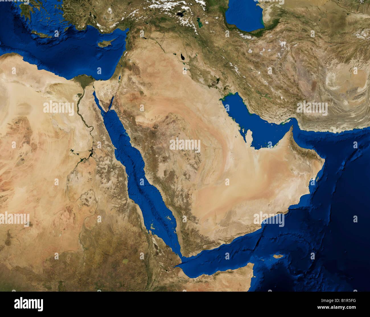 True Color Terra Modis Satellite Image Of The Arabian