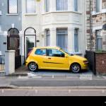 Car Parked In Front Garden Of Terraced House London England Uk Stock Photo Alamy