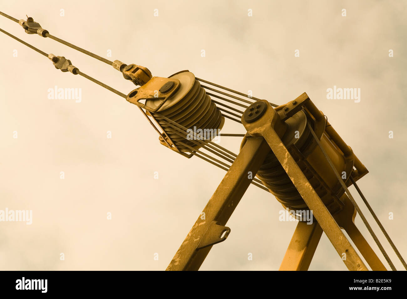 Pulley System On Crane Stock Photo