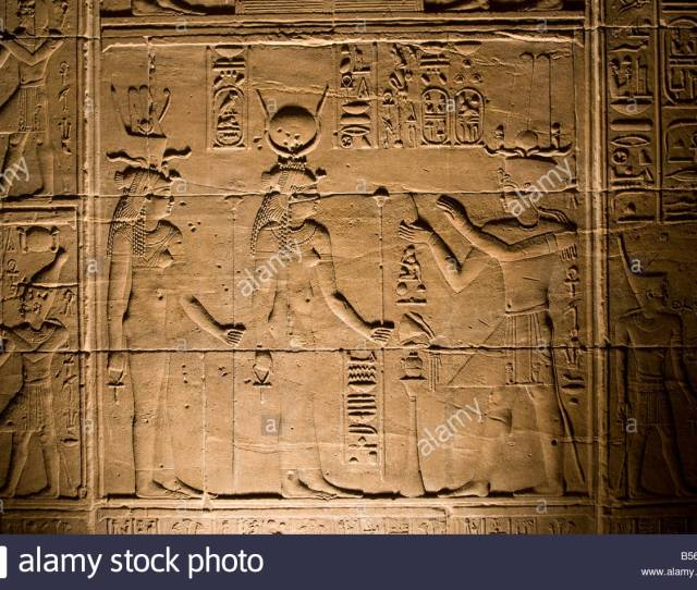 Relief Detail Inside Temple Of Isis In Philae Temple On Agilkia Island In The Reservoir Of The Aswan Low Dam Egypt