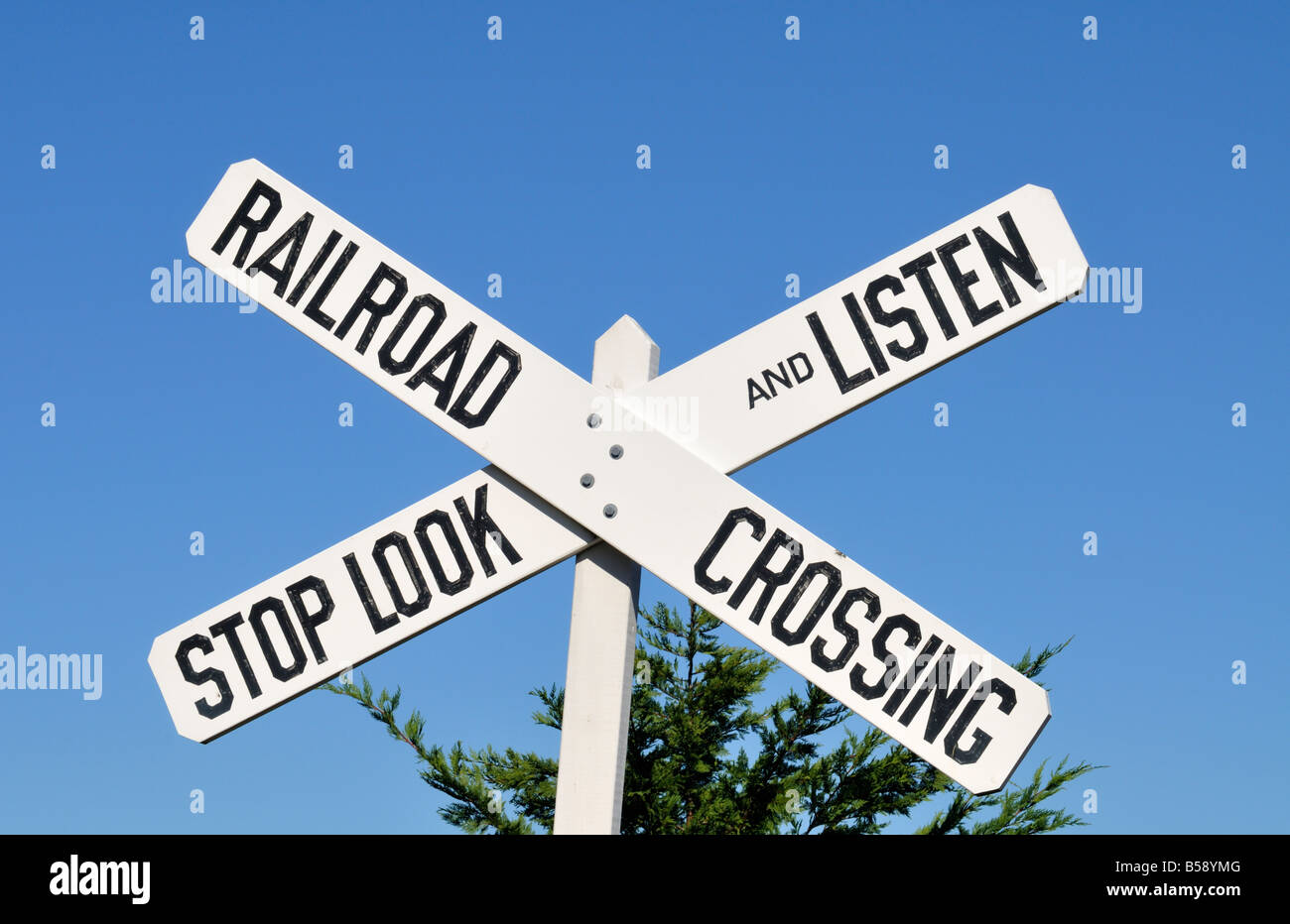 Railroad Crossing Stop Look And Listen Sign White With