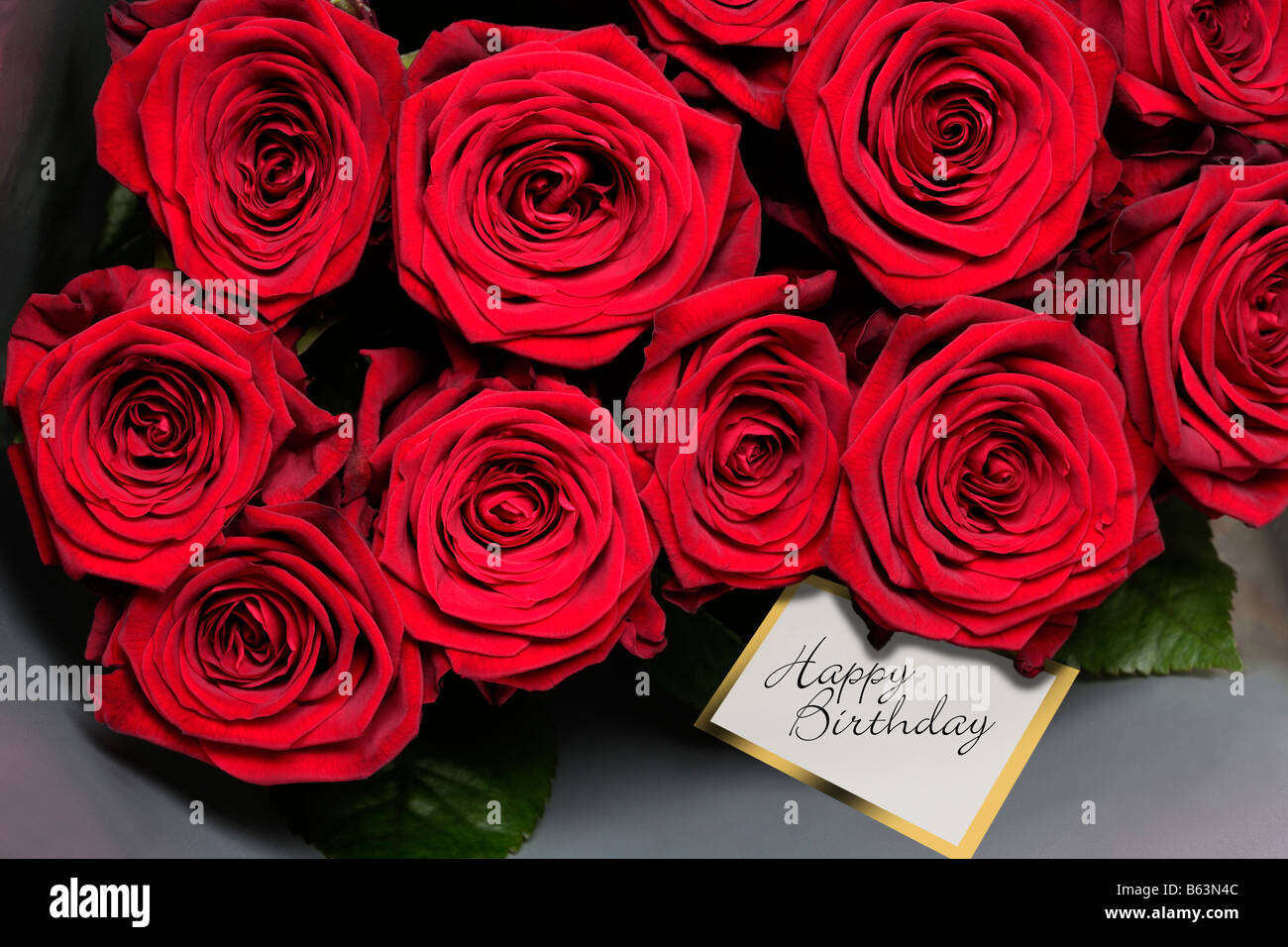 Red Roses With Happy Birthday Gift Tag Stock Photo