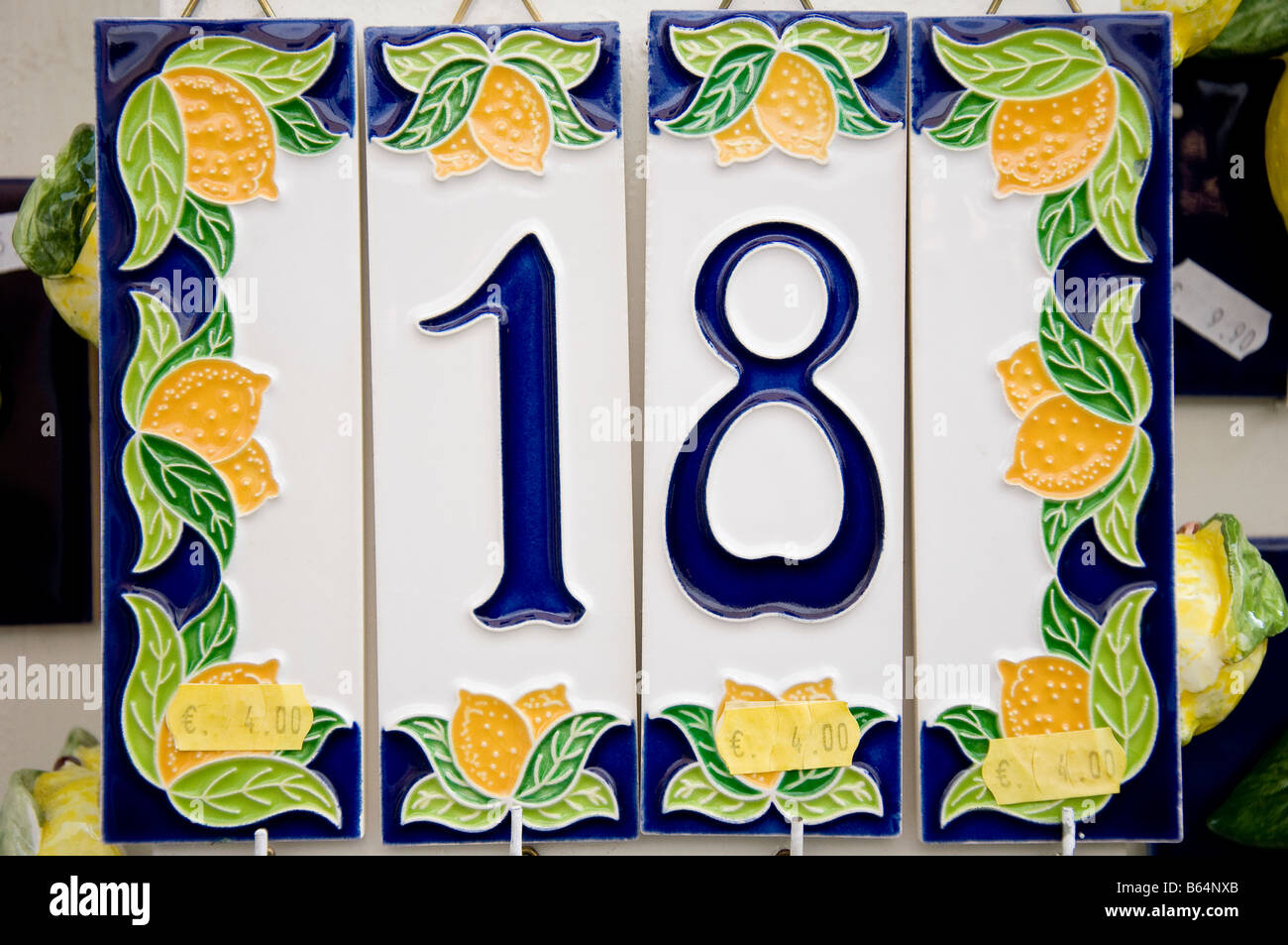https www alamy com stock photo house number 18 and lemons on a ceramic tile for sale with price labels 21003315 html