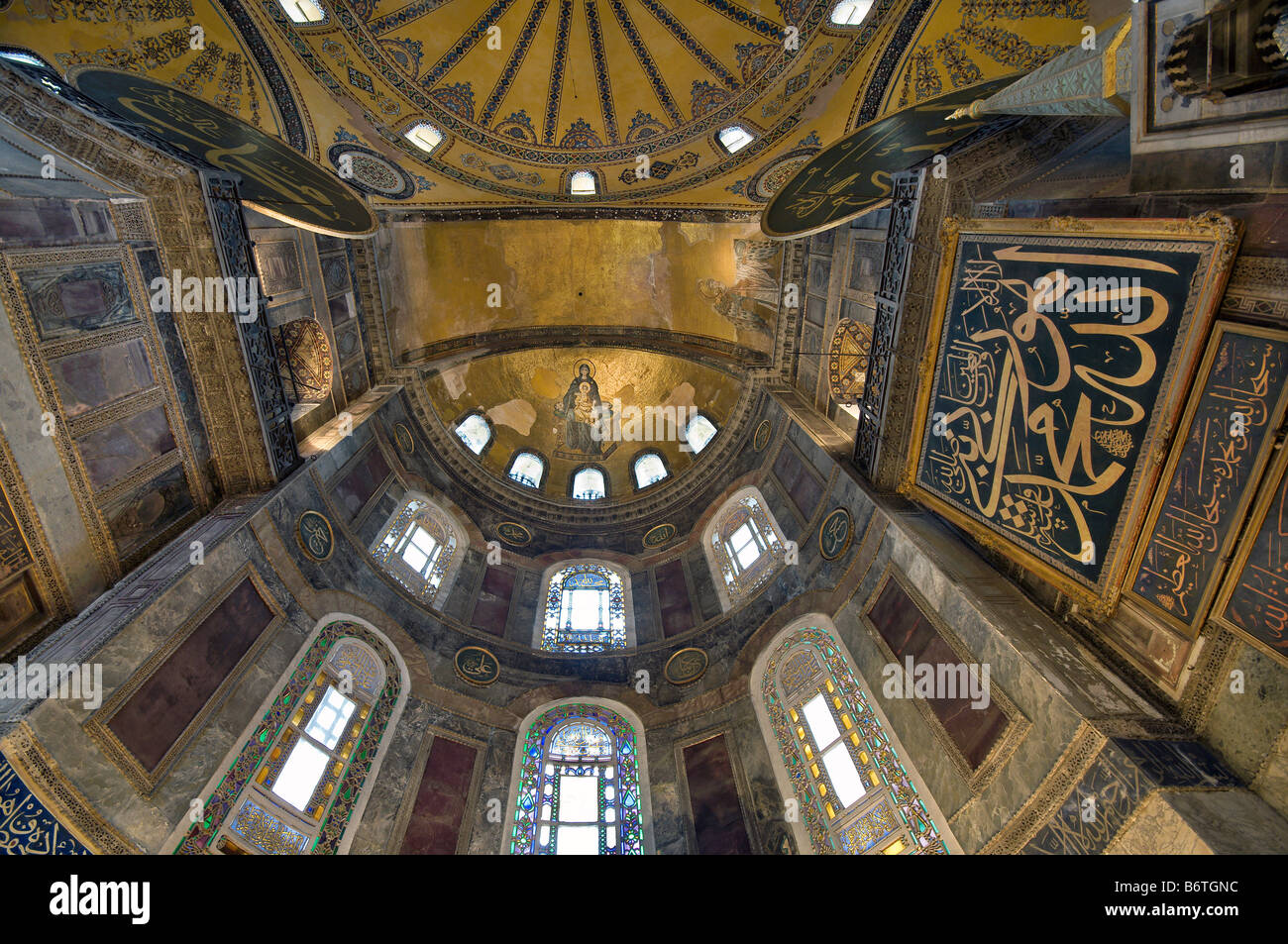 Interior View Of The Hagia Sophia Apse Mosaic Of The Theotokos Stock Photo Royalty Free Image