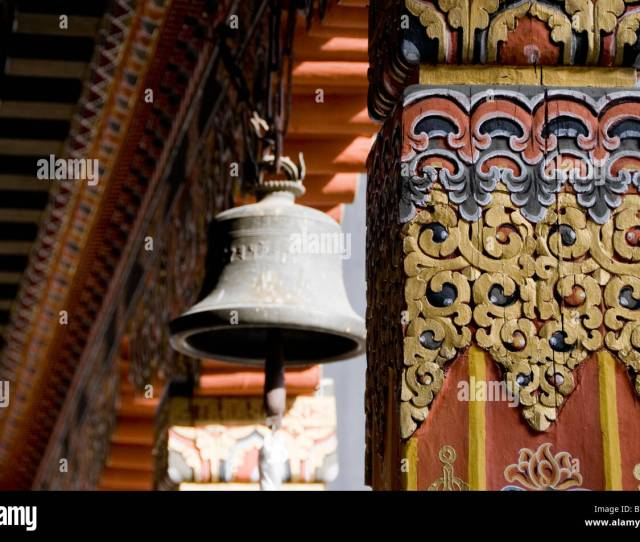 Large Cast Bell And Traditional Painted Decoration At Punakha Dzong Bhutan Stock Image