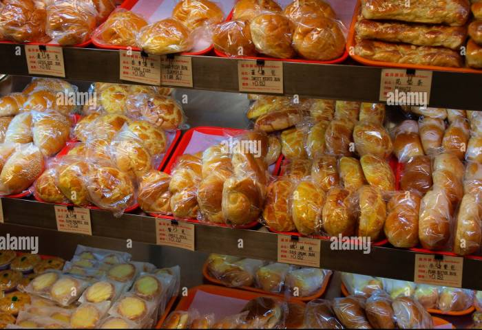 Freshly Baked Buns And Pastries At A Chinese Bakery In Chinatown
