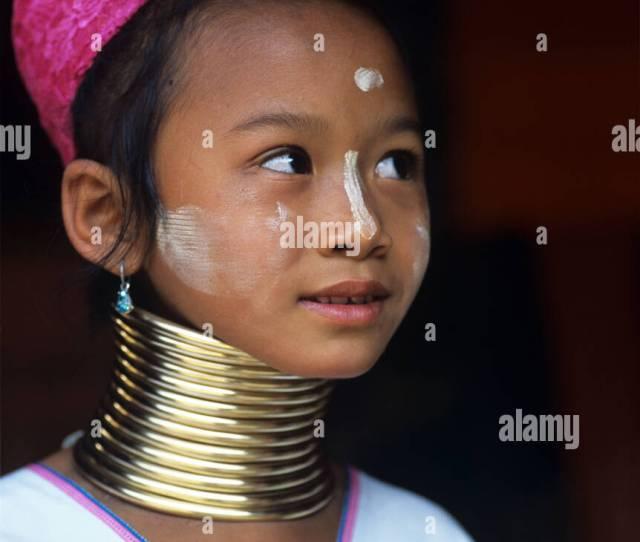 A Young Burmese Padaung Kayan Or Karenni Long Necked Girl Living In
