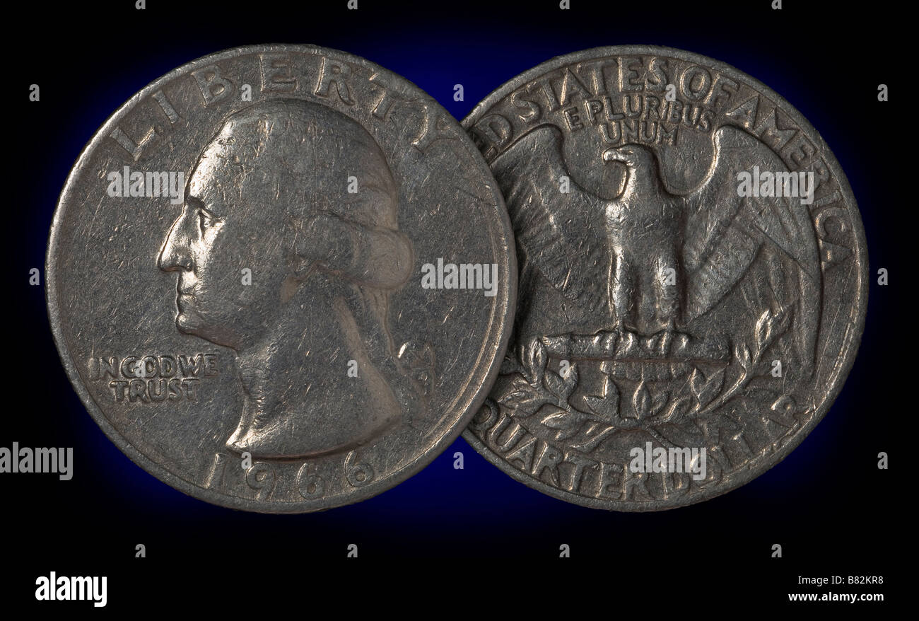 Usa Quarter 25 Cents Coin Front And Reverse Sides Stock Photo