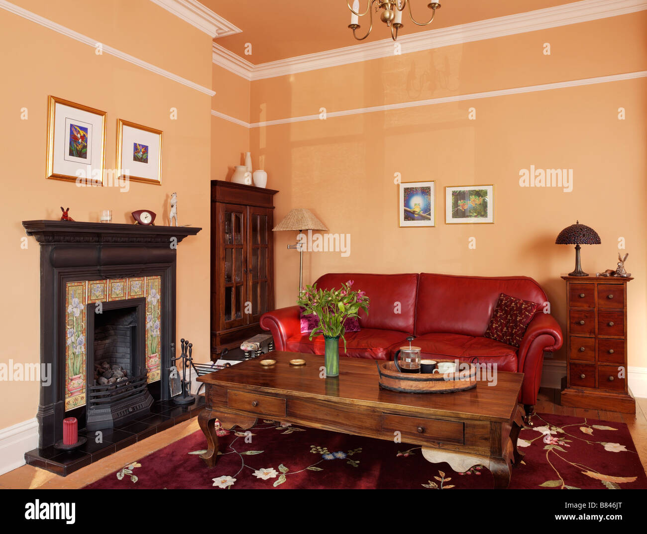 https www alamy com stock photo traditional living room with red leather sofa and wooden coffee table 22220656 html