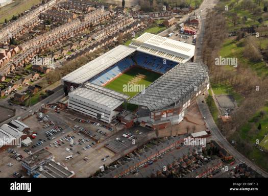 Aerial view of Aston Villa FC football stadium Villa Park ...