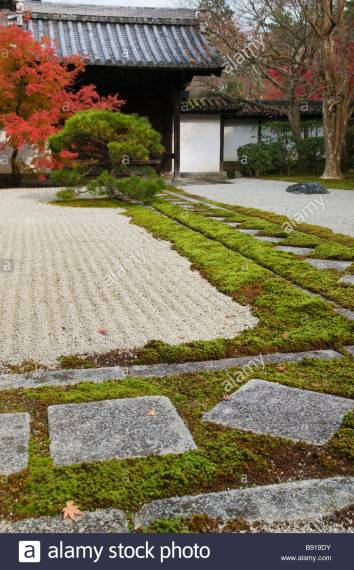 Moss Garden Stock Photos   Moss Garden Stock Images   Alamy Detail of Tenjuan zen garden Kyoto Japan   Stock Image