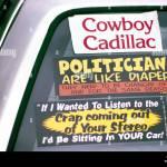 Funny Bumper Sticker Signs On Window Of A Cowboy Cadillac Car Stock Photo Alamy