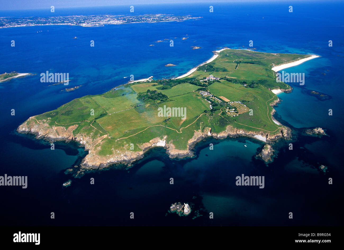 United Kingdom Channel Islands Herm Aerial View Stock
