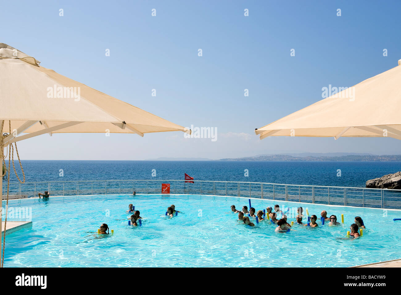 Greece Peloponnese Ermioni Lena Mary Hotel Aquagym In The Swimming Pool Stock Photo Alamy