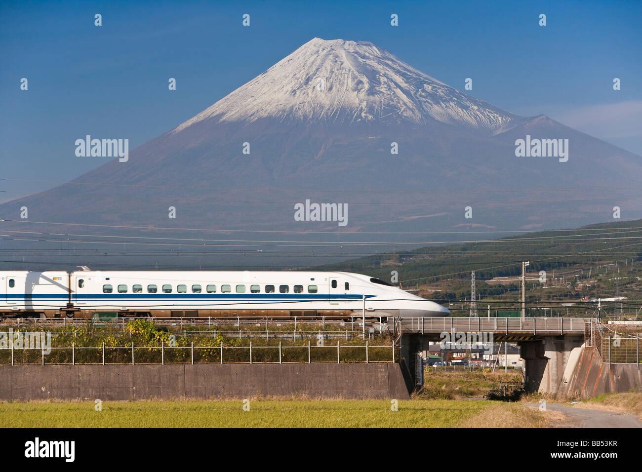Shinkansen Japanese Bullet Train And Mount Fuji Houshu