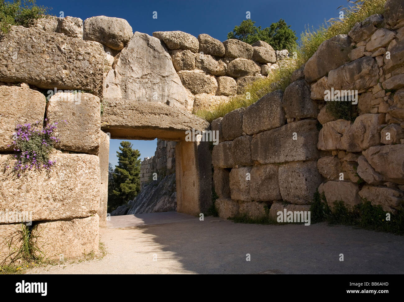Inside Of The Lion Gate Of Ancient Mycenae In Argolis Of
