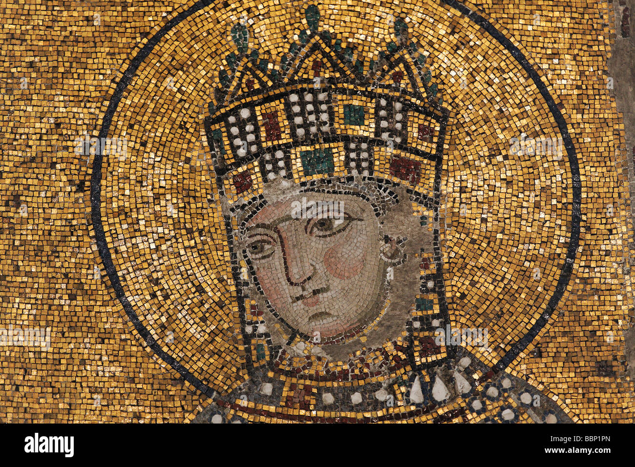 Emperor Constantine Ix Monomachos Byzantine Mosaic South Gallery Stock Photo Royalty Free