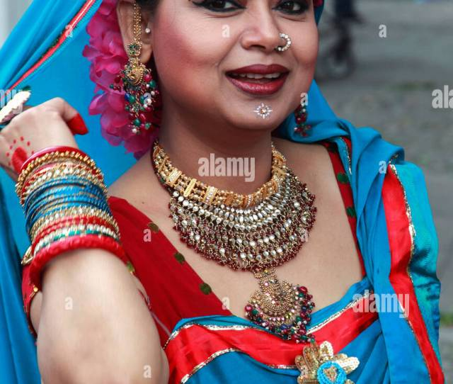 Germany Berlin Carnival Of Cultures Indian Woman In Costume