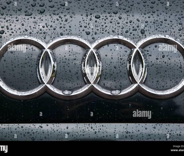 Audi Symbol On Car Front In Rain
