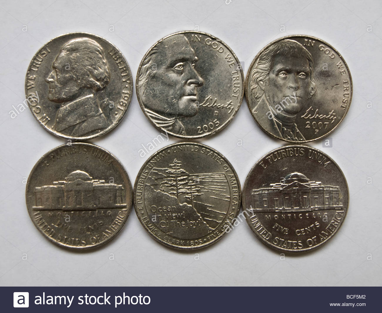 The Front And Back Of Three Different Nickel Coins Stock Photo Royalty Free Image