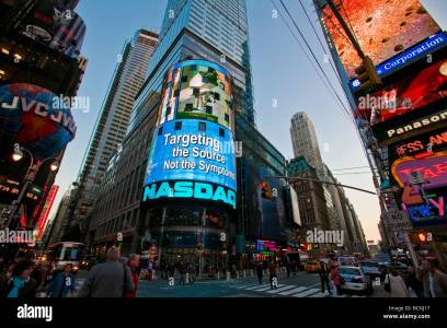 the nasdaq stock exchange building in times square in new york city stock photo alamy