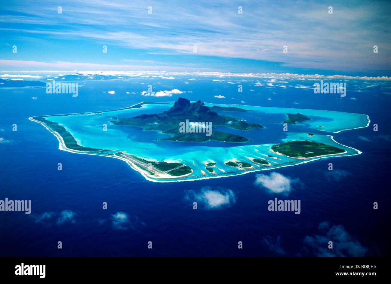 Aerial View Of Bora Bora Island Anchored In Blue South