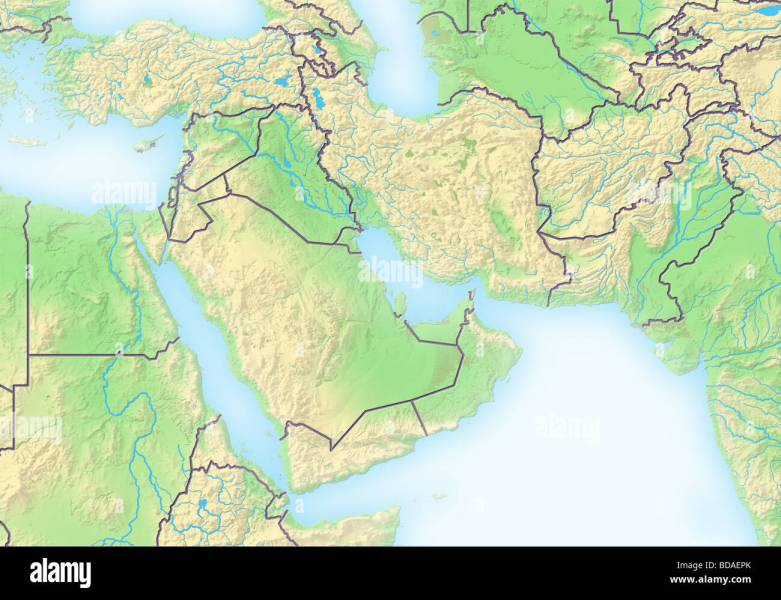 Middle East Map Stock Photos   Middle East Map Stock Images   Alamy Near East  shaded relief map    Stock Image