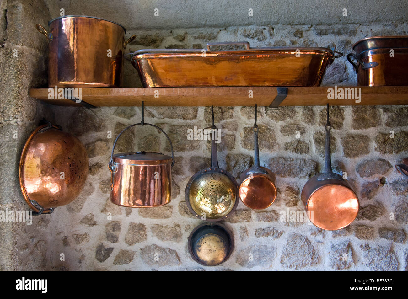 https www alamy com stock photo a range of brass pots and pans in a french chateau kitchen 25887776 html