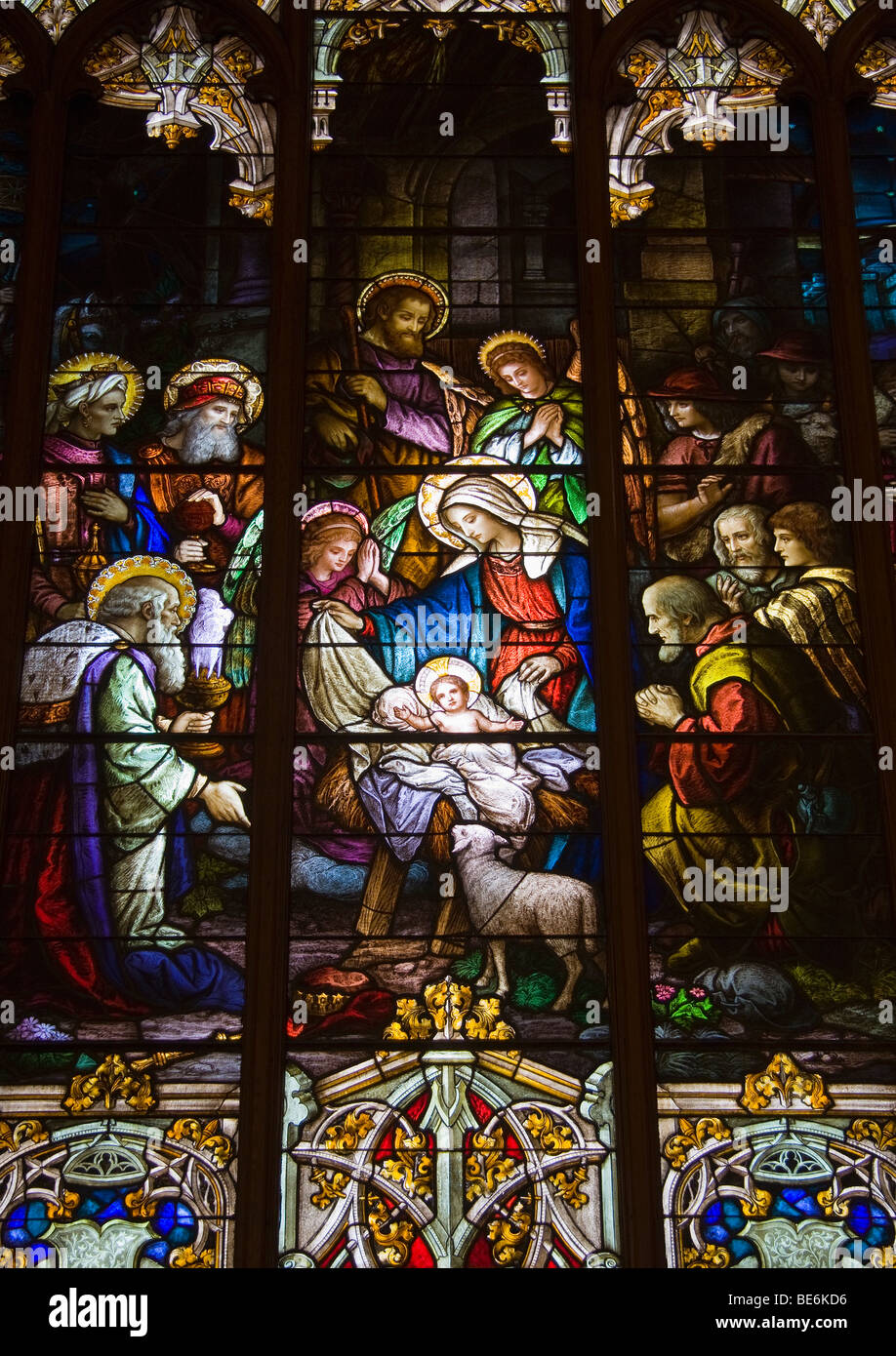 A Depiction Of The Nativity Of Jesus Christ In Stained