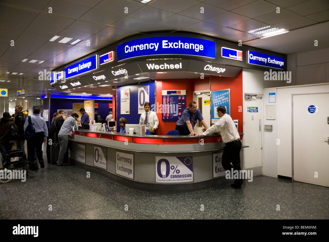 bureau de change office operated by travelex at gatwick airport south terminal london uk