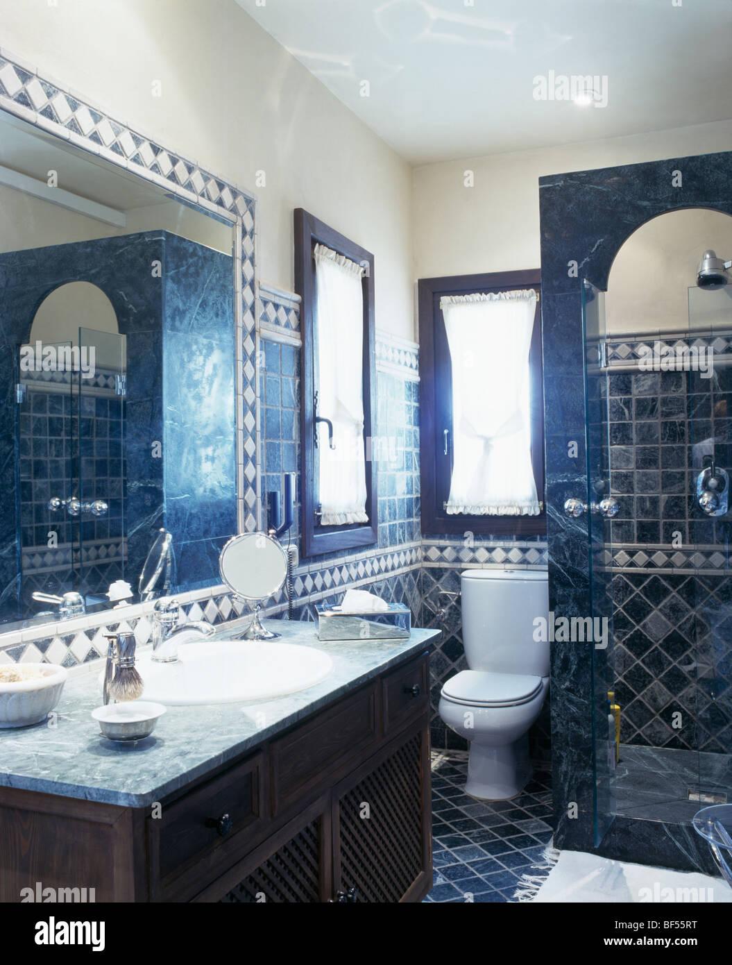 https www alamy com stock photo traditional blue tiled spanish bathroom 26544556 html