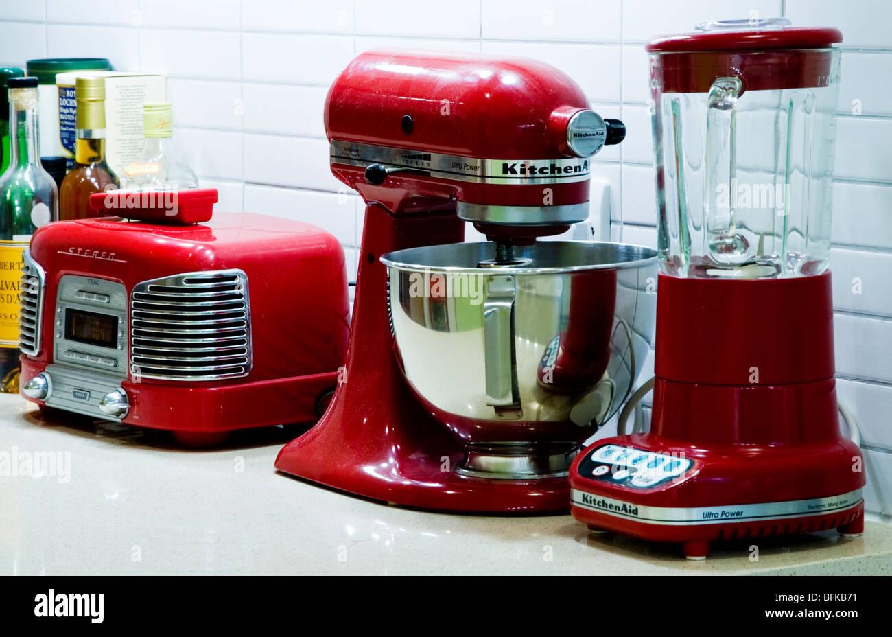 Red Retro Kitchen Appliances On A Worktop By Kitchenaid