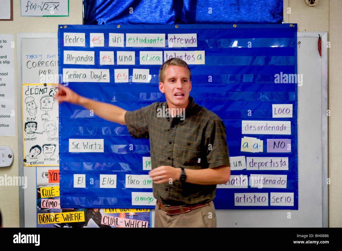 A California Middle School Spanish Teacher In A Classroom