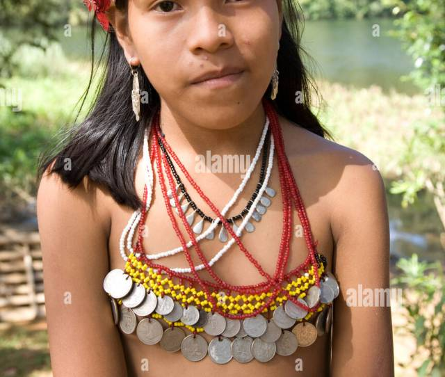 Young Girl Embera Indian Village Chagres National Park Panama Central America