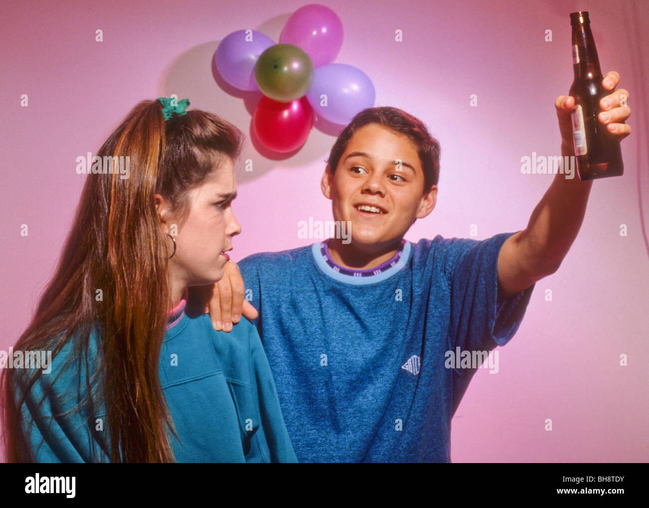 Teen Drink Alcohol Drug Peer Pressure Offer Tempt Boy Girl