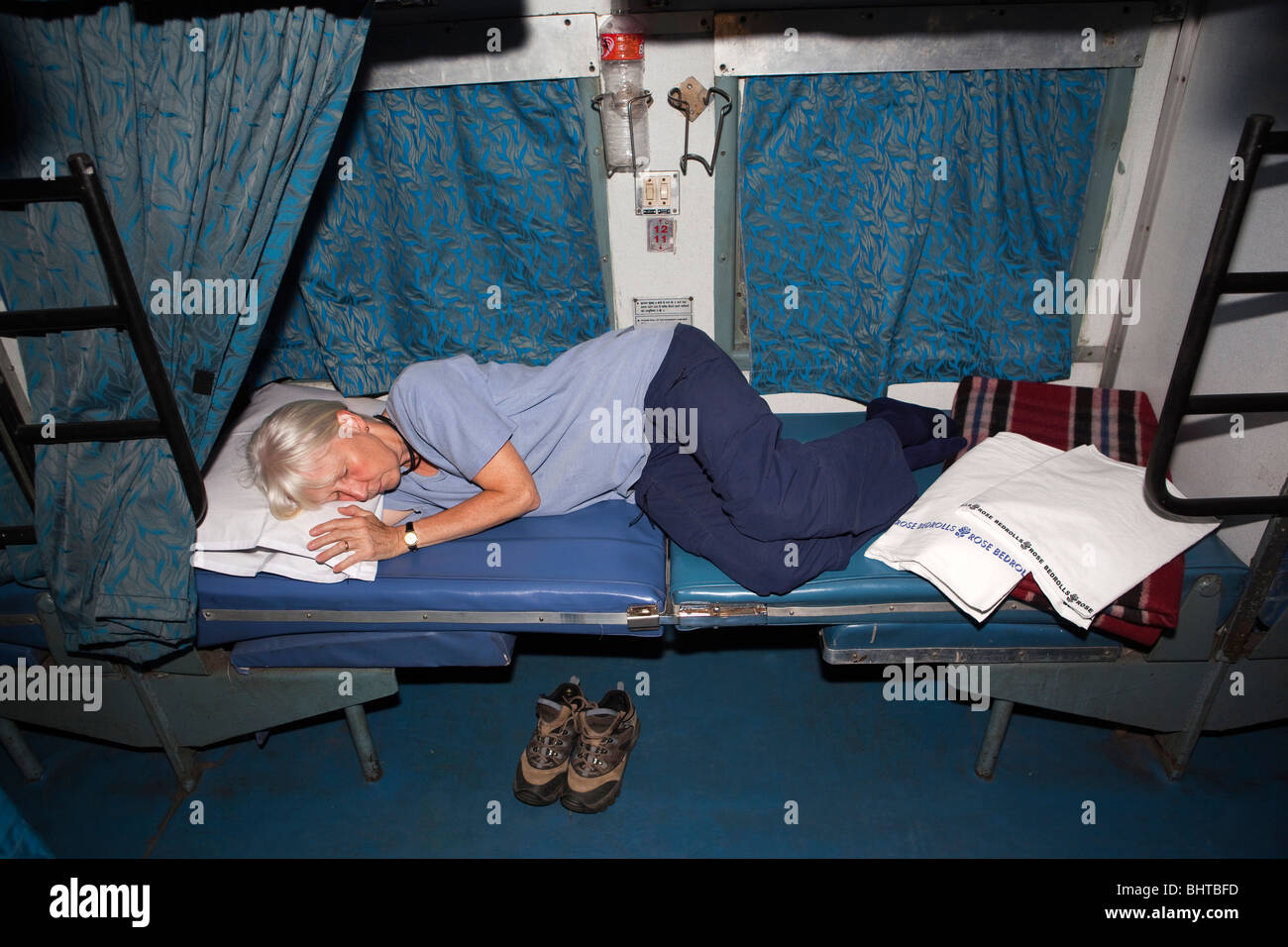 India Train Travel Female Tourist Sleeping In Second