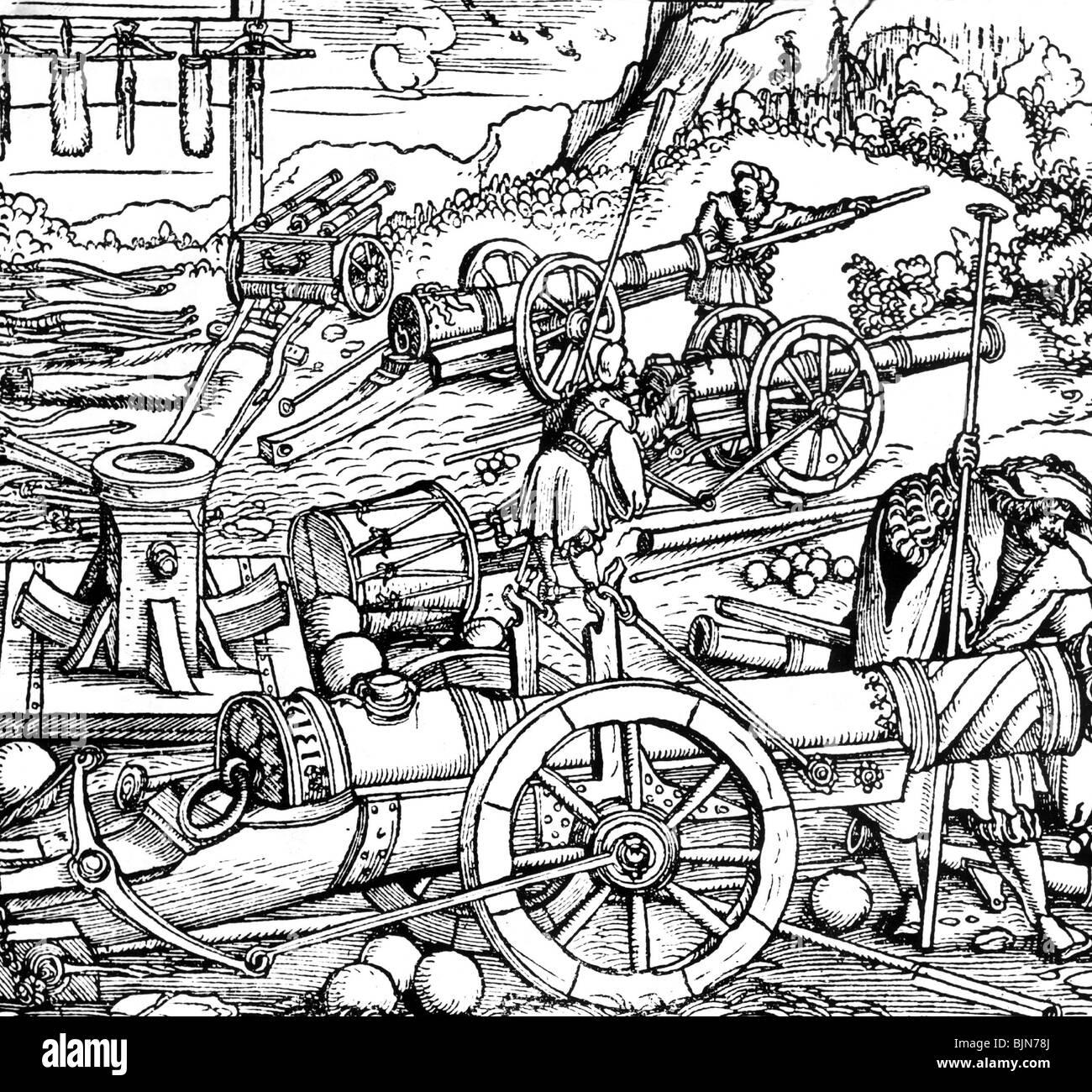Military Artillery Different Artillery Pieces Woodcut