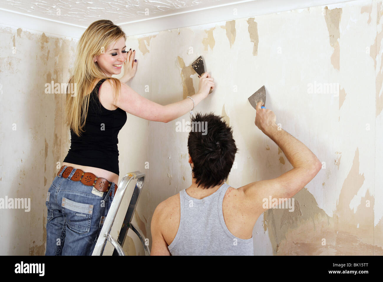 Stripping Wallpaper High Resolution Stock Photography And Images Alamy