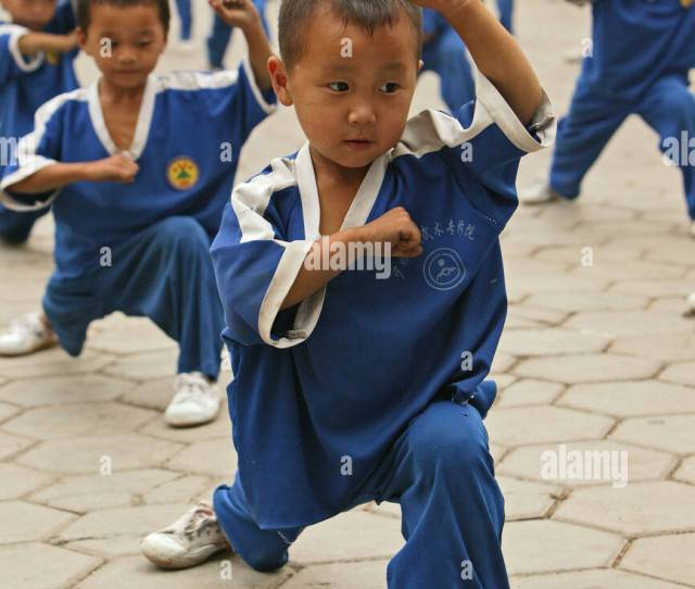 Kung Fu Training At Kindergarten Age At One Of The Many New Kung Fu Schools In Dengfeng School Near Shaolin Song Shan Henan
