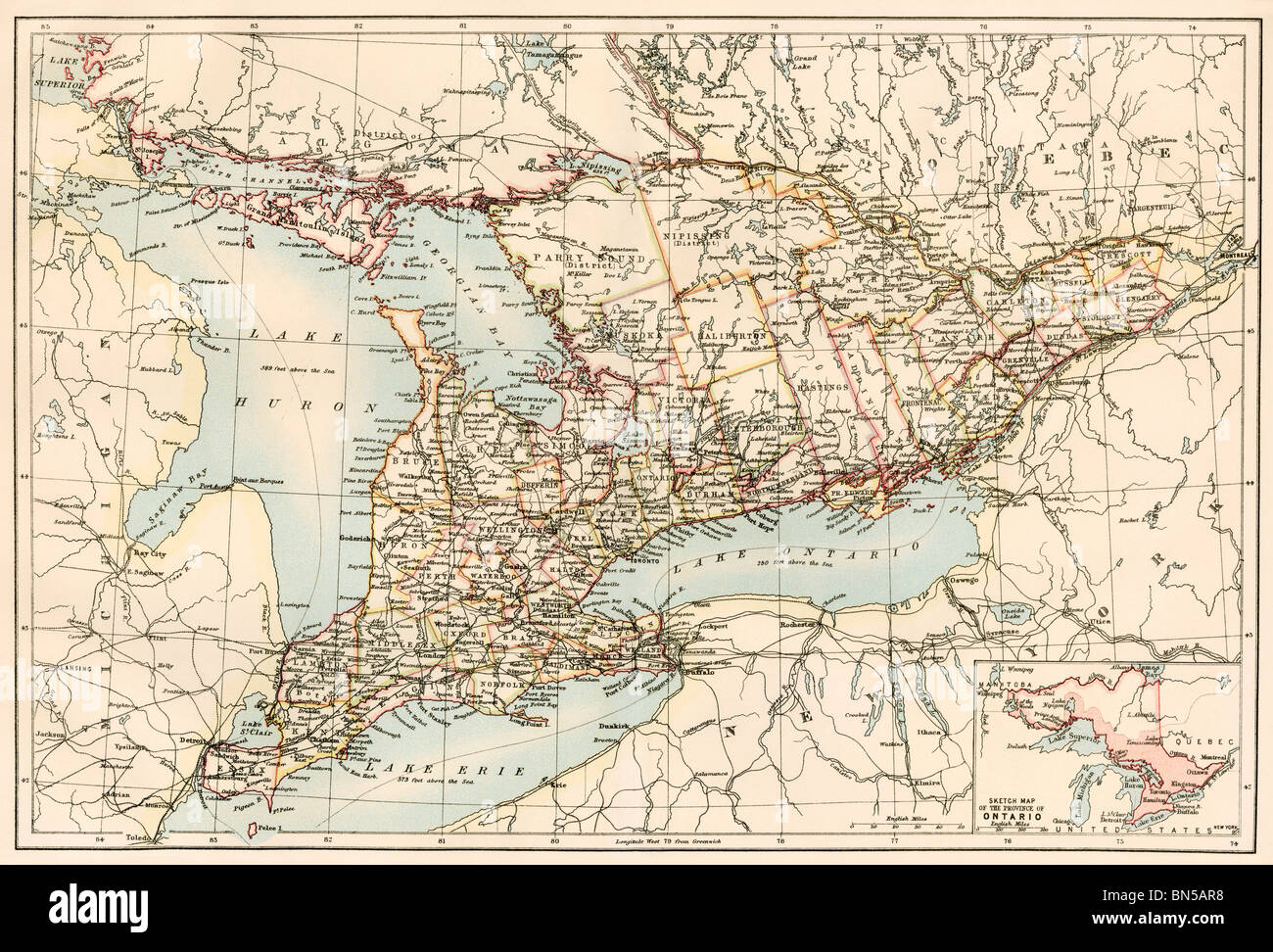 Ontario Map Stock Photos   Ontario Map Stock Images   Alamy Map of Ontario  Canada  1870s  Color lithograph   Stock Image