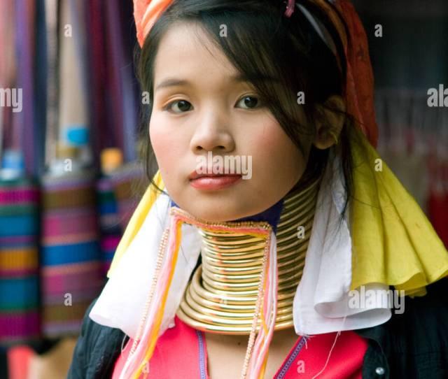 Beautiful Paduang Long Necked Karen Girl In Chiang Rai Thailand Stock Image