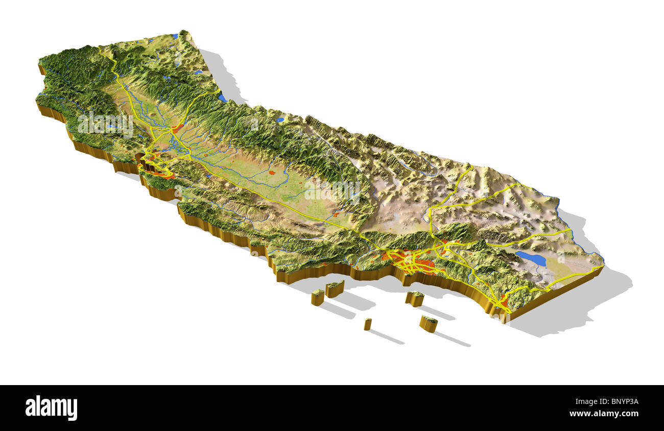 California 3d Relief Map Cut Out With Urban Areas And