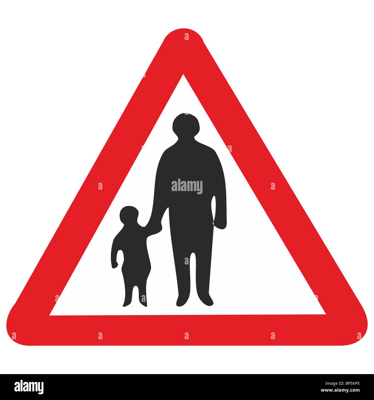 Uk Road Sign Pedestrians In Road Ahead Child Children