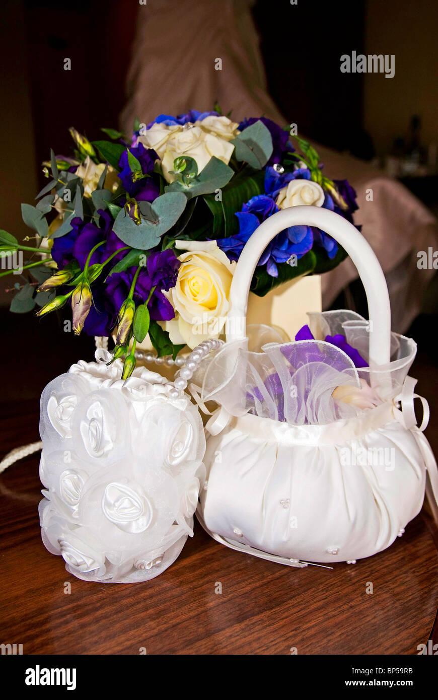 Wedding Basket Flower Petals Stock Photos Wedding Basket Flower