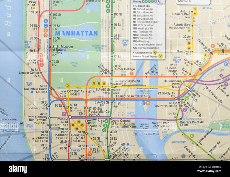 Subway Map Stock Photos   Subway Map Stock Images   Alamy New York city subway and bus map   Stock Image