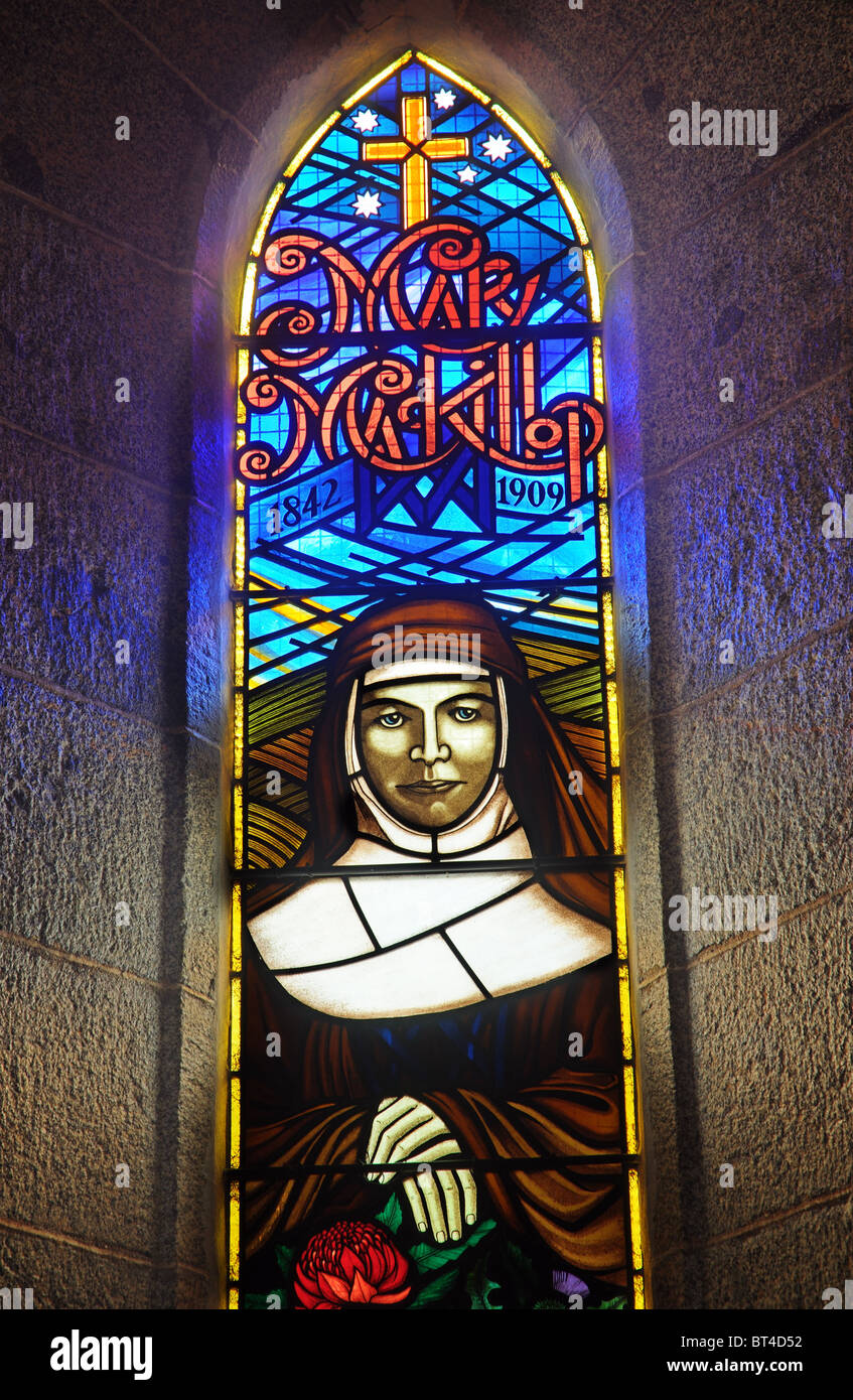 A Stained Glass Window Showing Mary Mckillop The